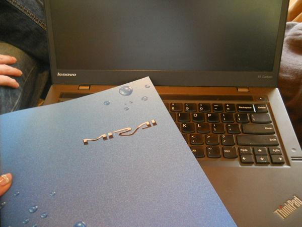 水素カーMIRAIのパンフレットをもらった。車で充電できるらしい