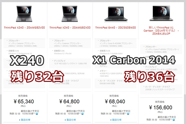在庫限りのThinkPad X1 Carbon 2014とThinkPad X240